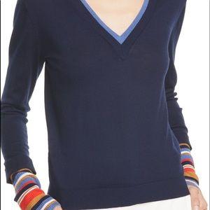 VERONICA BEARD Avory Contrast Cuff Merino Wool